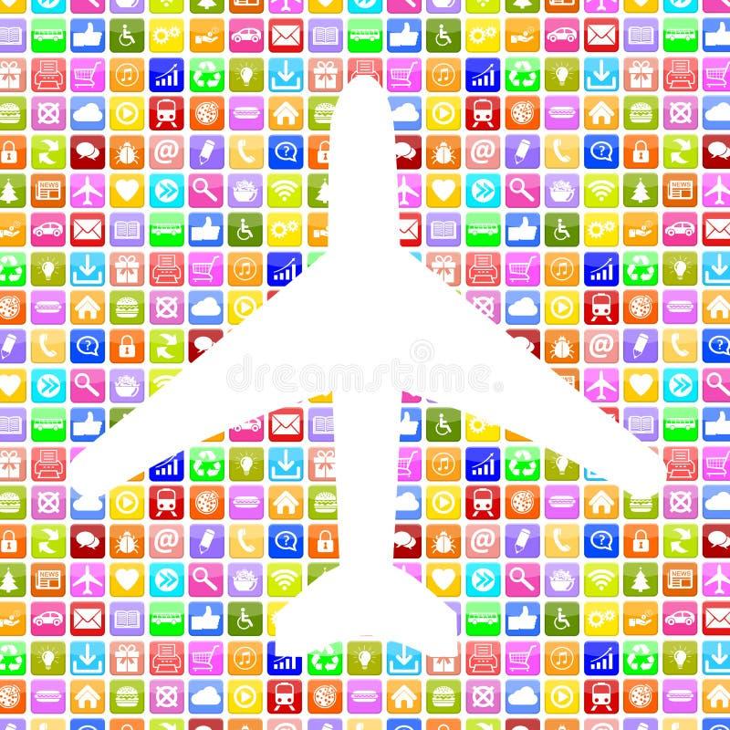 Πτήση και διακοπές κράτησης αεροπλάνων Apps App εφαρμογής on-line ελεύθερη απεικόνιση δικαιώματος