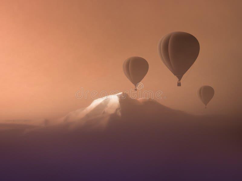 Πτήση μπαλονιών ζεστού αέρα υψηλή στα βουνά ακραίος αθλητισμός έννοιας στοκ εικόνα