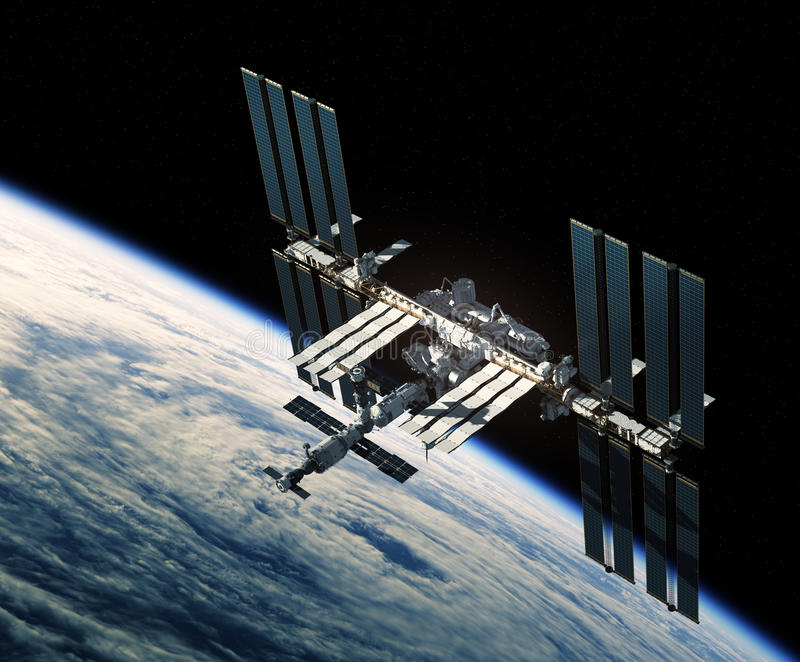 Πτήση του Διεθνούς Διαστημικού Σταθμού πέρα από τον τυφώνα ελεύθερη απεικόνιση δικαιώματος