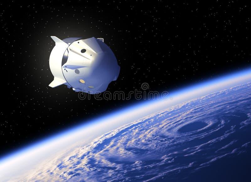 Πτήση του εμπορικού διαστημικού σκάφους επάνω από το μεγάλο τυφώνα διανυσματική απεικόνιση