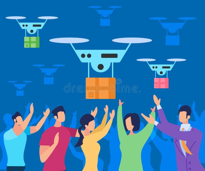 Πτήση Copter που παραδίδει το δέμα στους ανθρώπους διανυσματική απεικόνιση