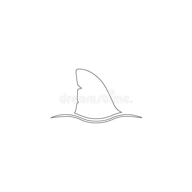 Πτερύγιο καρχαριών επίπεδο διανυσματικό εικονίδιο διανυσματική απεικόνιση