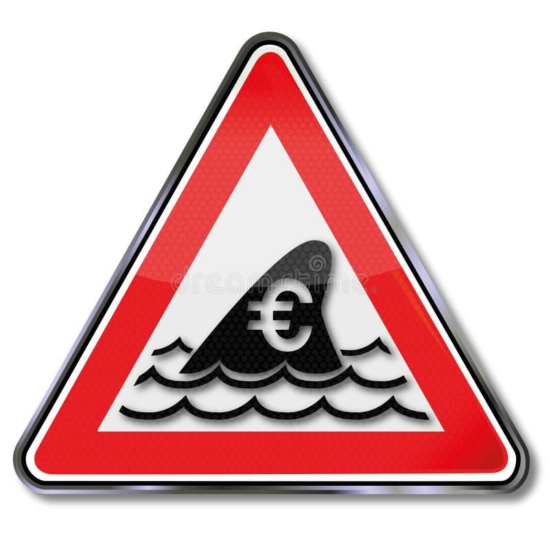 Πτερύγιο καρχαριών και υποβρύχια επίθεση για το ευρώ ελεύθερη απεικόνιση δικαιώματος