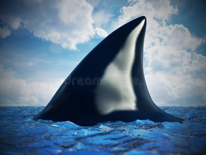 Πτερύγιο καρχαριών στο νερό τρισδιάστατη απεικόνιση διανυσματική απεικόνιση