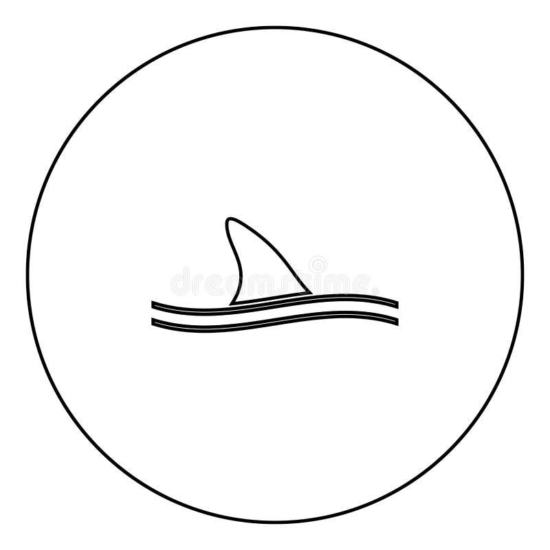 Πτερύγιο του μαύρου εικονιδίου καρχαριών στην περίληψη κύκλων ελεύθερη απεικόνιση δικαιώματος