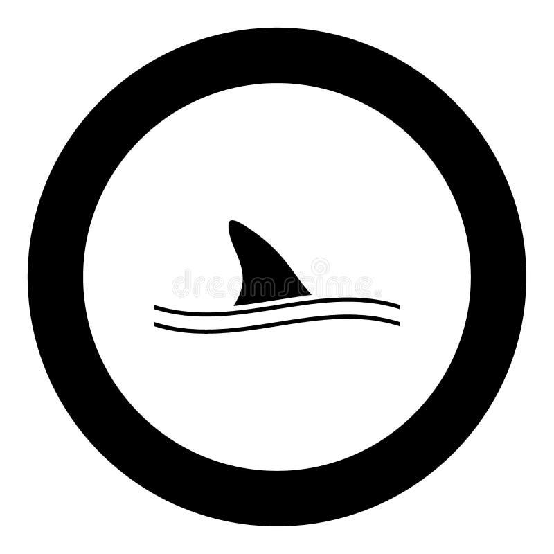 Πτερύγιο του μαύρου εικονιδίου καρχαριών στη διανυσματική απεικόνιση κύκλων ελεύθερη απεικόνιση δικαιώματος