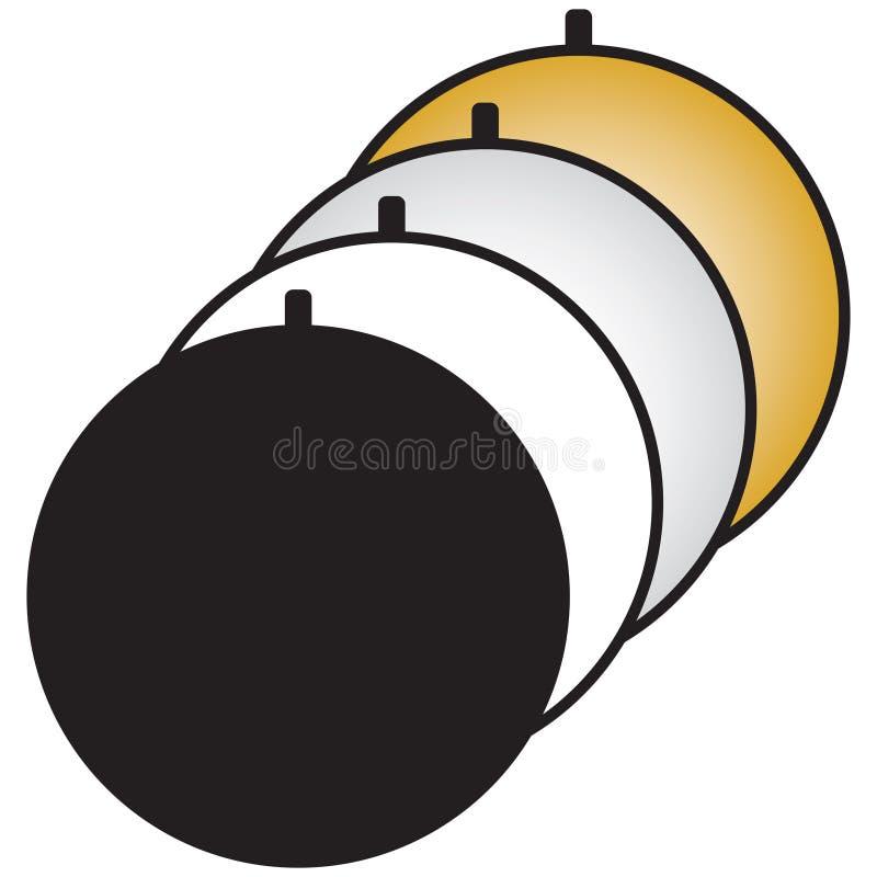 Πτυσσόμενος ελαφρύς ανακλαστήρας πολυ-δίσκων διανυσματική απεικόνιση