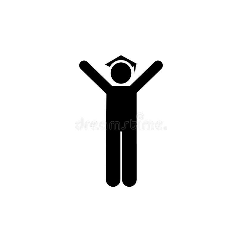 Πτυχιούχος, ευτυχής, εικονίδιο σπουδαστών Στοιχείο του εικονιδίου εικονογραμμάτων εκπαίδευσης r r απεικόνιση αποθεμάτων