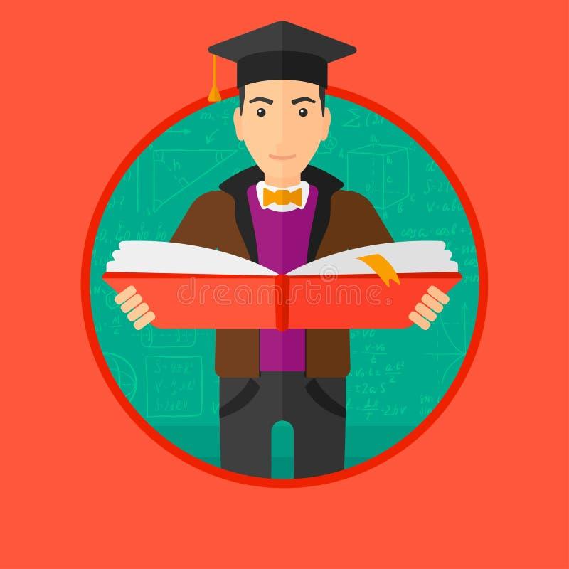 Πτυχιούχος με το βιβλίο στα χέρια διανυσματική απεικόνιση