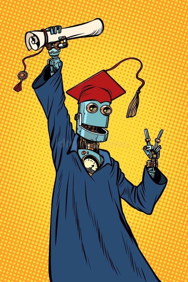 Πτυχιούχος σπουδαστών ρομπότ ενός πανεπιστημίου ή ενός κολλεγίου διανυσματική απεικόνιση