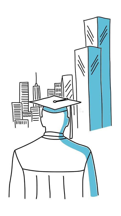 Πτυχιούχος στην πόλη απεικόνιση αποθεμάτων