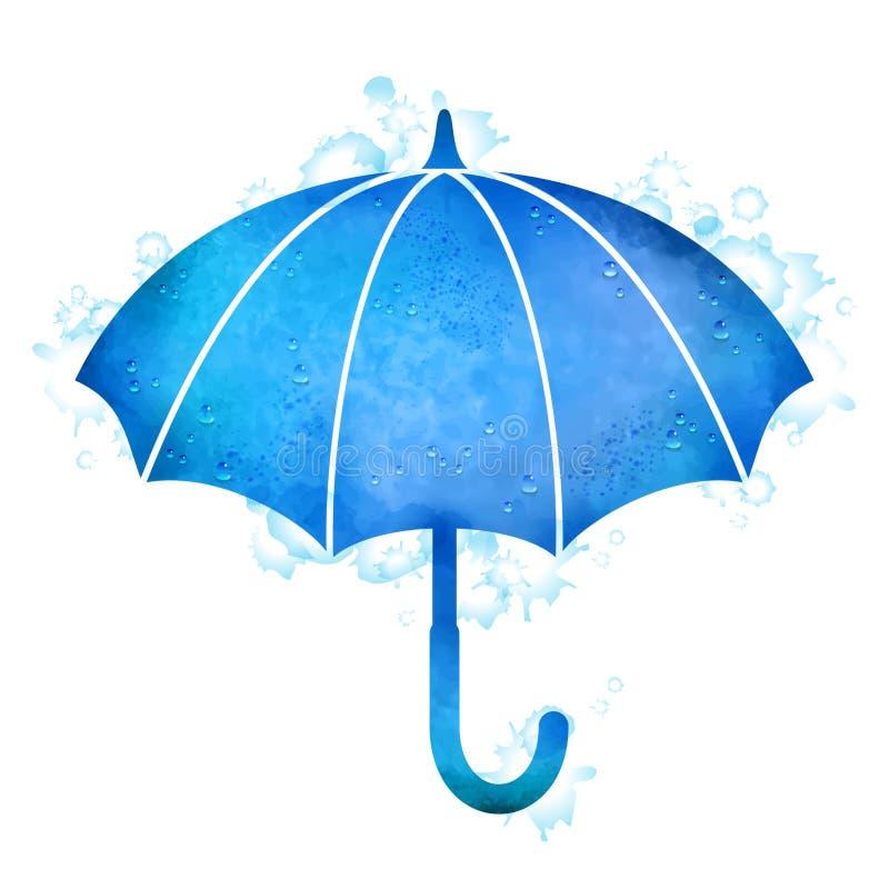 Πτώσεις βροχής ομπρελών Watercolor διανυσματική απεικόνιση