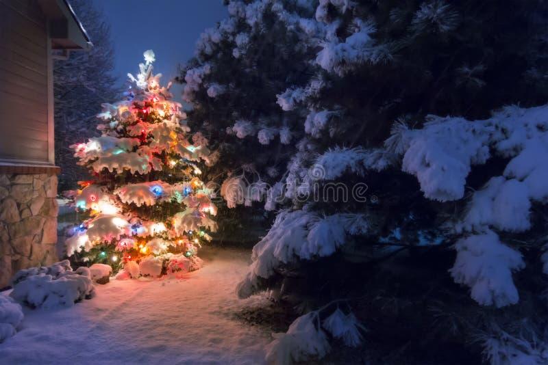 Πτώσεις ισχυρής χιονόπτωσης σε μια μαγική νύχτα Παραμονής Χριστουγέννων στοκ φωτογραφίες