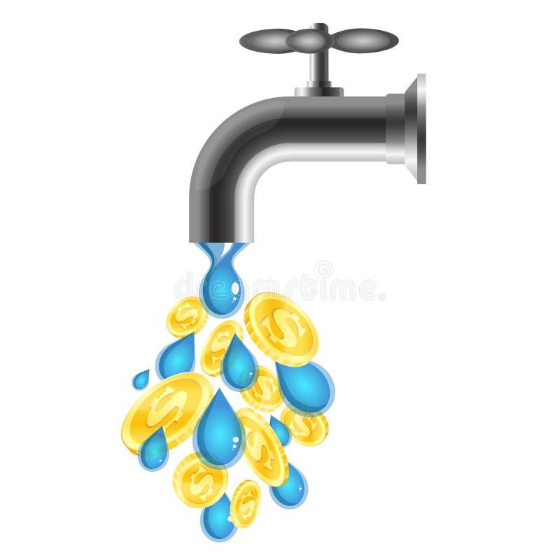 Πτώσεις και νομίσματα νερού από τη βρύση ελεύθερη απεικόνιση δικαιώματος