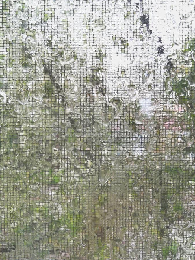 Πτώσεις νερού στο πλέγμα μετά από τη μακρο αφαίρεση σχεδίων σύστασης υποβάθρου θερινής βροχής στοκ φωτογραφίες