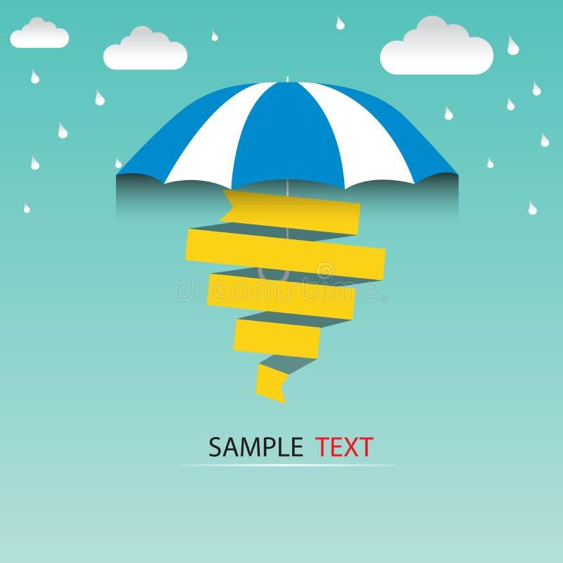 Πτώσεις ομπρελών και βροχής, αφηρημένη καιρική έννοια διανυσματική απεικόνιση