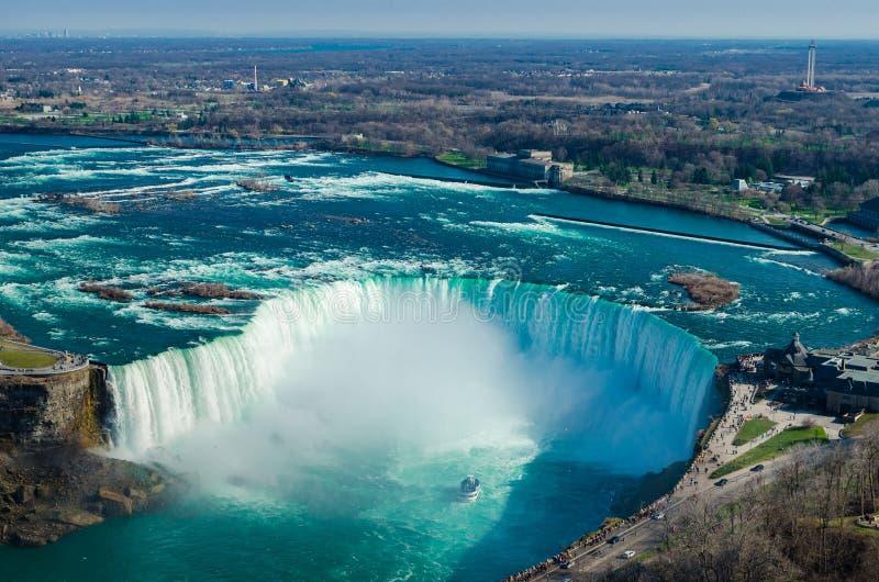 Πτώσεις του Οντάριο Καναδάς πτώσεων Niagara με το κορίτσι της υδρονέφωσης στοκ εικόνες με δικαίωμα ελεύθερης χρήσης