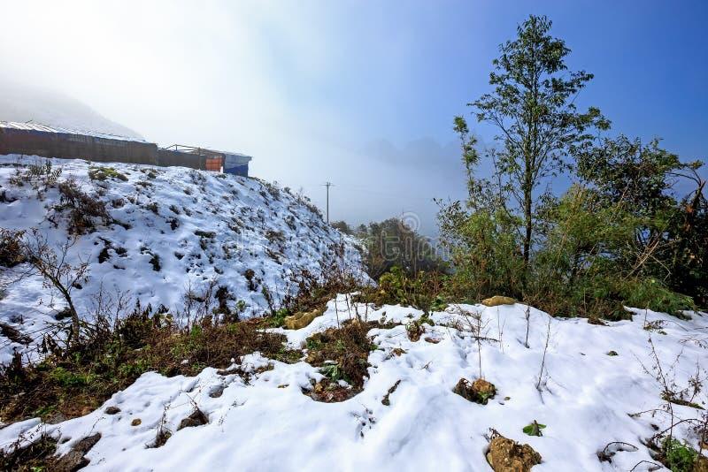 Πτώσεις χιονιού σε Sapa, Βιετνάμ στοκ φωτογραφίες