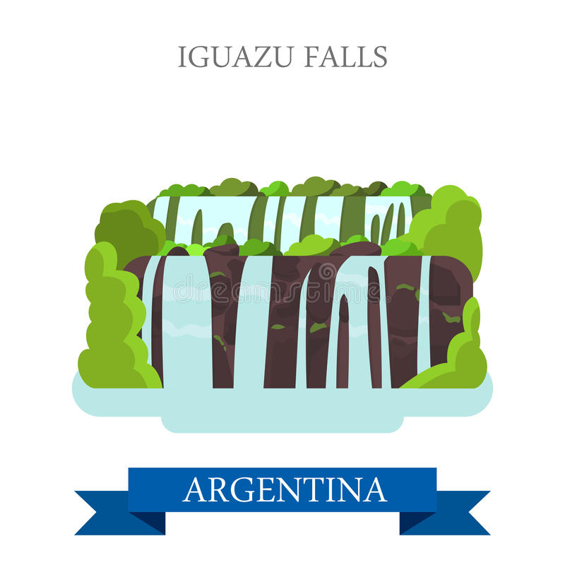 Πτώσεις Iguazu στα διανυσματικά επίπεδα ορόσημα έλξης της Αργεντινής ελεύθερη απεικόνιση δικαιώματος