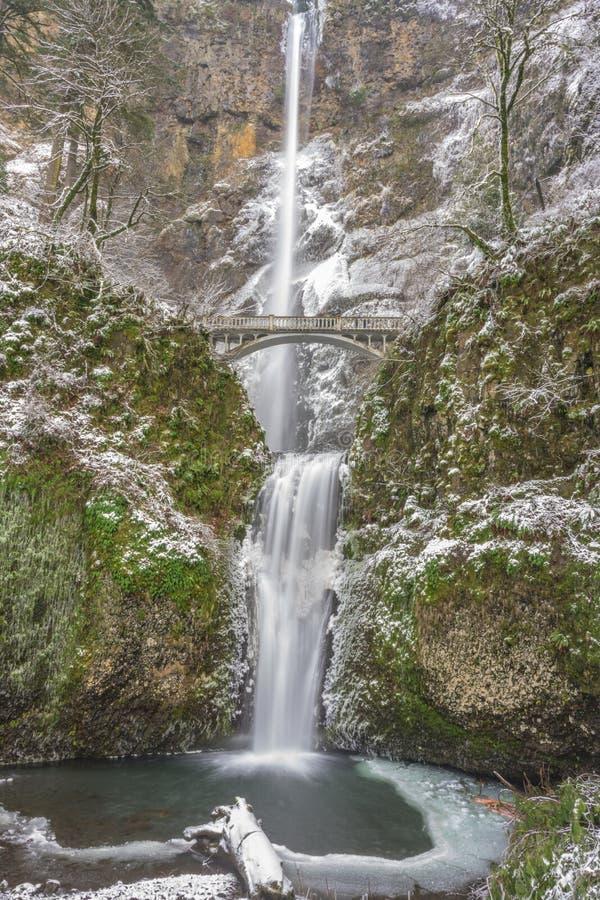 Πτώσεις Multnomah το χειμώνα στοκ φωτογραφία