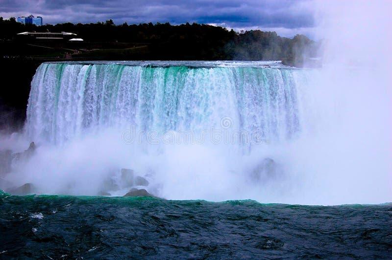 Πτώσεις Niagara με τον τεράστιο ψεκασμό του νερού στο δικαίωμα στοκ φωτογραφία