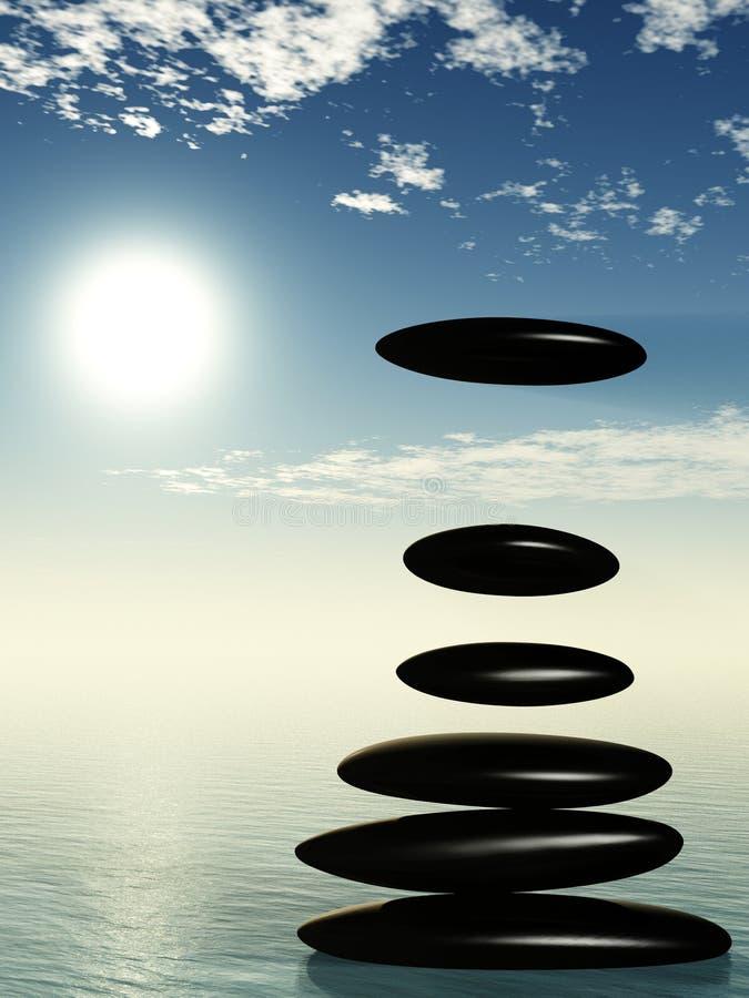 πτώση ένα ύδωρ πετρών zen απεικόνιση αποθεμάτων