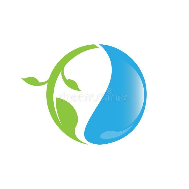 Πτώση νερού λογότυπων Eco με τη διανυσματική απεικόνιση λογότυπων σχεδίου envitrontment φύλλων διανυσματική απεικόνιση