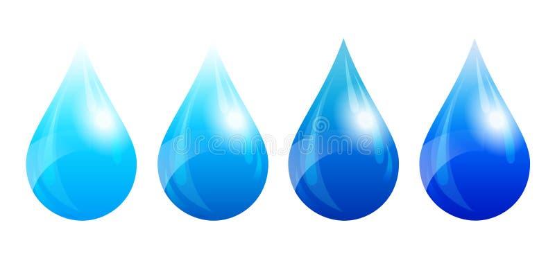 Πτώση νερού, σταγονίδιο νερού, τέσσερις εκδόσεις χρώματος ελεύθερη απεικόνιση δικαιώματος
