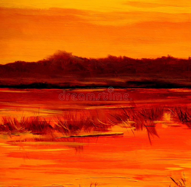 Πτώση στη λίμνη, που χρωματίζει από το πετρέλαιο στον καμβά στοκ φωτογραφίες με δικαίωμα ελεύθερης χρήσης