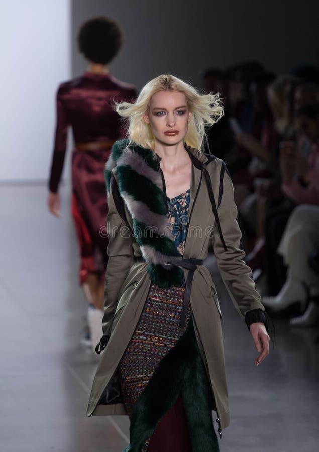 Πτώση της Vivienne HU/χειμερινή συλλογή κατά τη διάρκεια της εβδομάδας μόδας της Νέας Υόρκης στοκ εικόνα