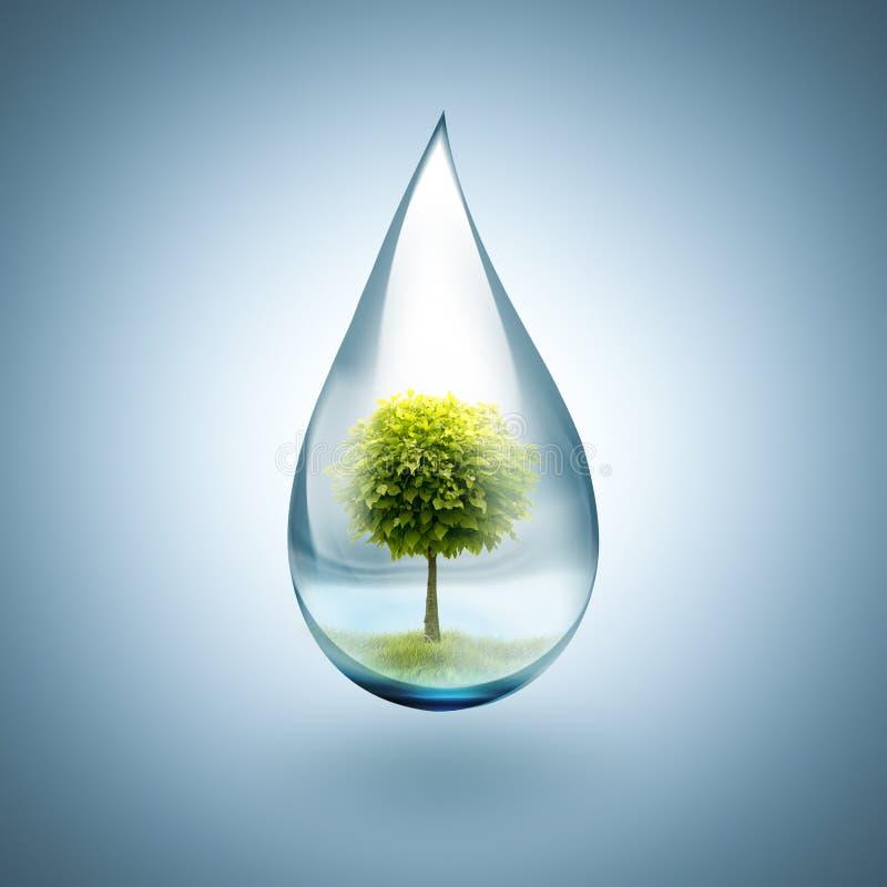 Πτώση του νερού με το δέντρο μέσα ελεύθερη απεικόνιση δικαιώματος