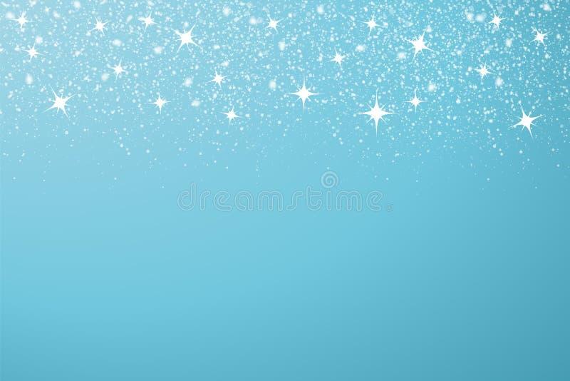 Πτώση τυχαία διανυσματικά στοιχεία του χιονιού Μπλε απομονωμένο υπόβαθρο Νέο έτος, απεικόνιση Χριστουγέννων απεικόνιση αποθεμάτων