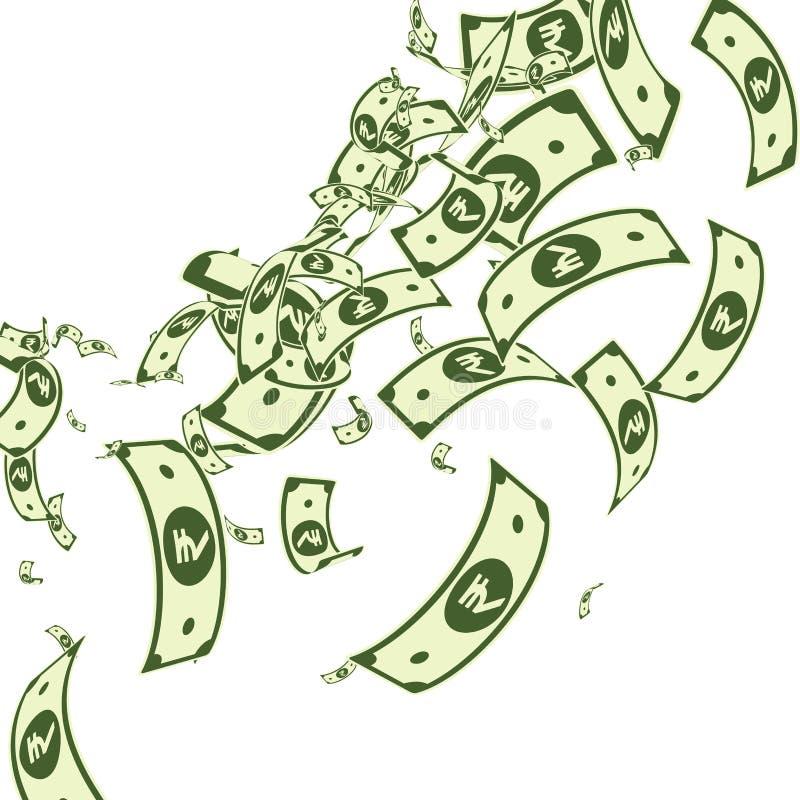 Πτώση των ινδικών ρουπιών Messy INR bills on whi απεικόνιση αποθεμάτων