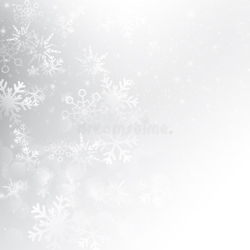 Πτώση χιονιού με το αφηρημένο γκρίζο διάνυσμα υποβάθρου bokeh ελεύθερη απεικόνιση δικαιώματος