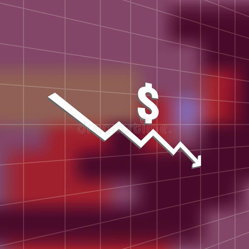 πτώση χρημάτων δολαρίων κάτω από το σύμβολο εικονιδίων με το υπόβαθρο θαμπάδων τεντώνοντας αυξανόμενη πτώση οικονομίας μείωσης βε διανυσματική απεικόνιση