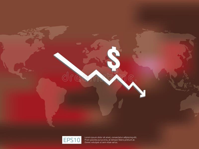 πτώση χρημάτων δολαρίων κάτω από το σύμβολο με τον παγκόσμιο χάρτη και το υπόβαθρο θαμπάδων τεντώνοντας αυξανόμενη πτώση οικονομί διανυσματική απεικόνιση