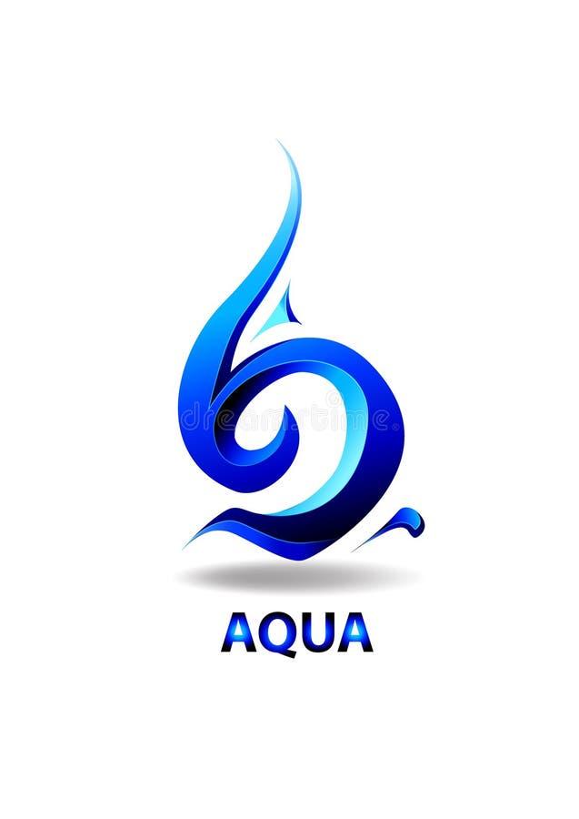 Πτώση Aqua στοιχείων συμβόλων λογότυπων διανυσματική απεικόνιση