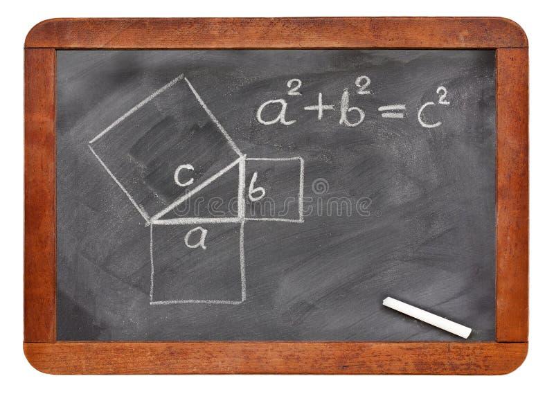 Πυθαγορικό θεώρημα στον πίνακα στοκ φωτογραφίες