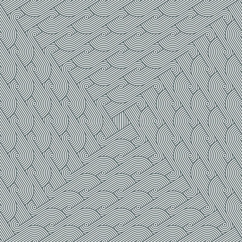 Πυκνό άνευ ραφής εκλεπτύνοντας σχέδιο με την επανάληψη των σειρών των ομόκεντρων κύκλων απεικόνιση αποθεμάτων