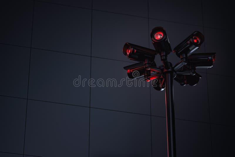 Πυλώνας με διάφορες κάμερες CCTV και διάστημα αντιγράφων στη αριστερή πλευρά για το κείμενο Μέλλον με τη σταθερή επιτήρηση και τη απεικόνιση αποθεμάτων