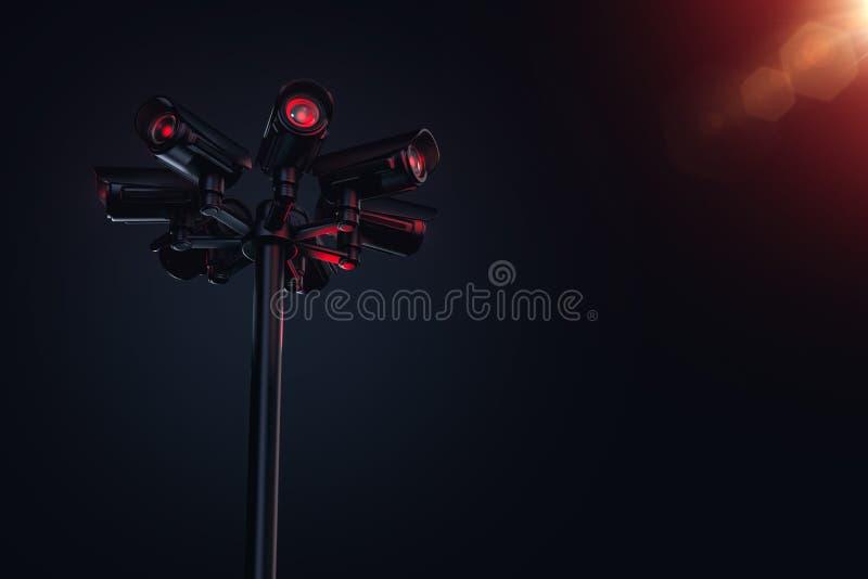 Πυλώνας με διάφορες κάμερες CCTV και διάστημα αντιγράφων στη δεξιά πλευρά Μέλλον με τη σταθερή επιτήρηση και το κοινωνικό πιστωτι ελεύθερη απεικόνιση δικαιώματος
