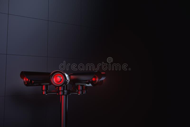 Πυλώνας με διάφορες κάμερες CCTV και το διάστημα αντιγράφων ανωτέρω Μέλλον με τη σταθερή επιτήρηση και την κοινωνική έννοια πιστω διανυσματική απεικόνιση