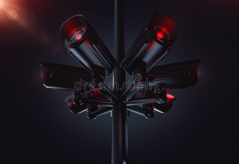 Πυλώνας με διάφορες κάμερες CCTV Να ζήσει στο μέλλον με την κοινωνική έννοια πιστωτικών συστημάτων r ελεύθερη απεικόνιση δικαιώματος