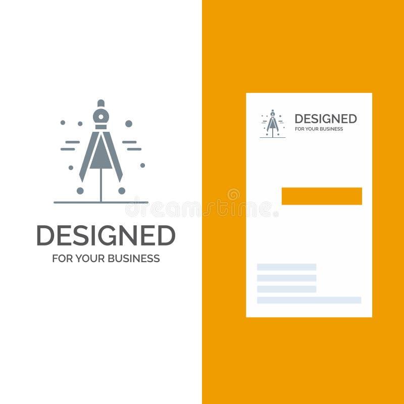 Πυξίδα, διαιρέτης, γκρίζο σχέδιο λογότυπων επιστήμης και πρότυπο επαγγελματικών καρτών ελεύθερη απεικόνιση δικαιώματος