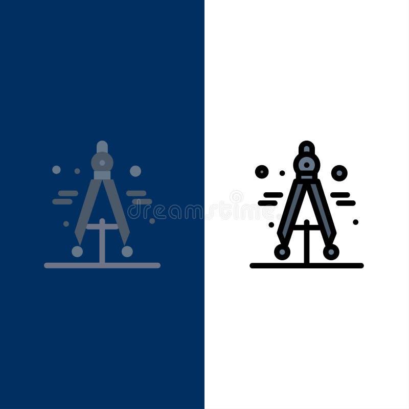 Πυξίδα, διαιρέτης, εικονίδια επιστήμης Επίπεδος και γραμμή γέμισε το καθορισμένο διανυσματικό μπλε υπόβαθρο εικονιδίων απεικόνιση αποθεμάτων