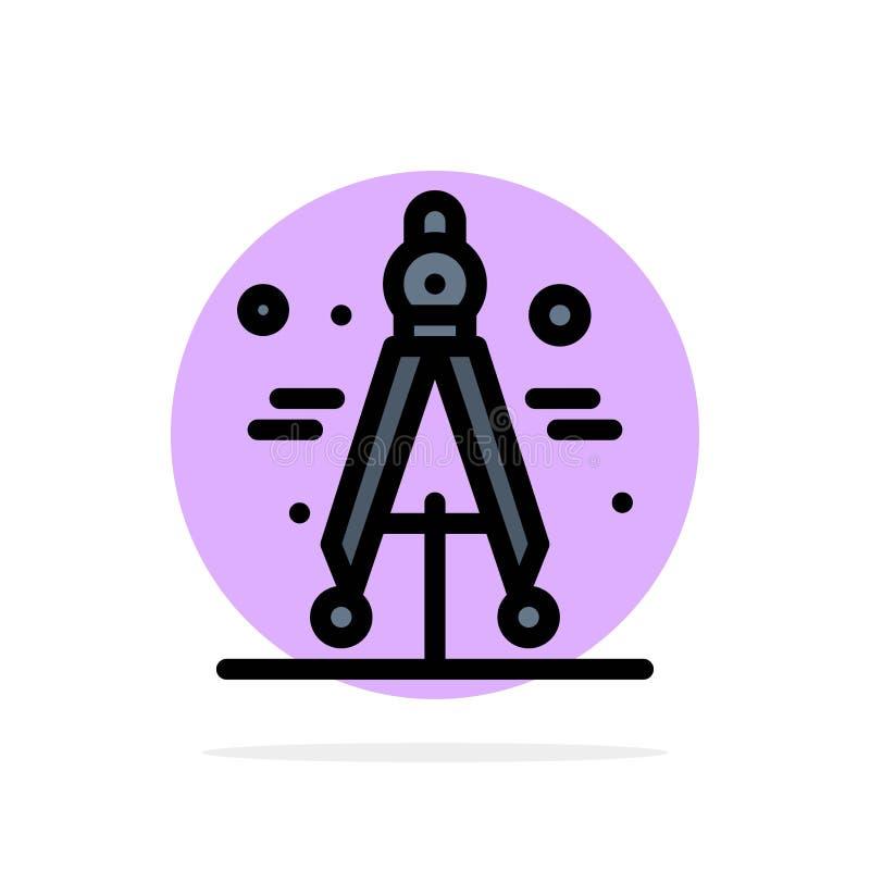 Πυξίδα, διαιρέτης, επιστήμης αφηρημένο κύκλων εικονίδιο χρώματος υποβάθρου επίπεδο απεικόνιση αποθεμάτων