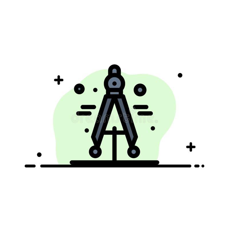 Πυξίδα, διαιρέτης, επιστήμης πρότυπο εμβλημάτων επιχειρησιακών επίπεδο γεμισμένο γραμμή εικονιδίων διανυσματικό διανυσματική απεικόνιση