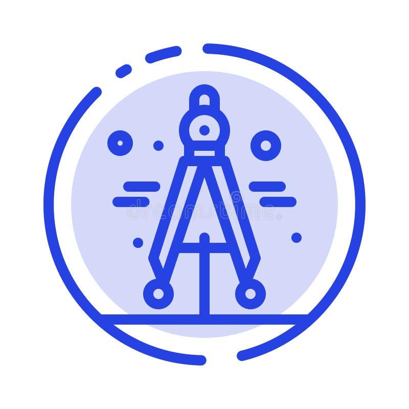 Πυξίδα, διαιρέτης, μπλε εικονίδιο γραμμών διαστιγμένων γραμμών επιστήμης διανυσματική απεικόνιση
