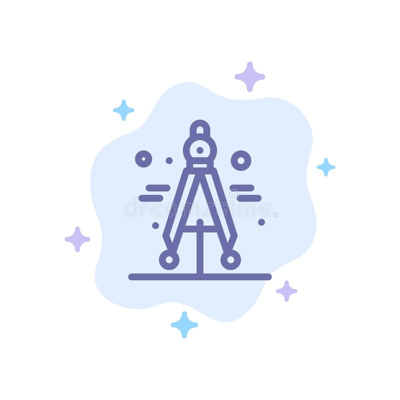 Πυξίδα, διαιρέτης, μπλε εικονίδιο επιστήμης στο αφηρημένο υπόβαθρο σύννεφων ελεύθερη απεικόνιση δικαιώματος