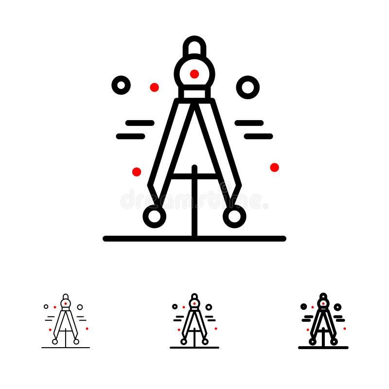 Πυξίδα, διαιρέτης, τολμηρό και λεπτό μαύρο σύνολο εικονιδίων γραμμών επιστήμης ελεύθερη απεικόνιση δικαιώματος